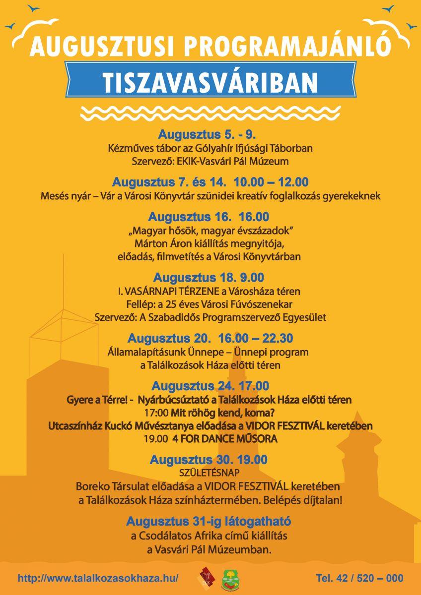 Augusztusi programajánló Tiszavasváriban