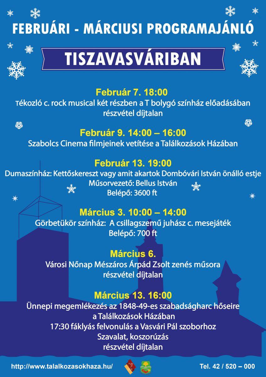 Februári - márciusi programok Tiszavasváriban