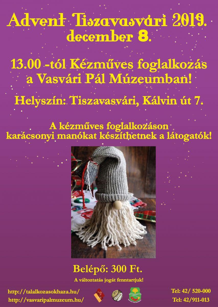 Kézműves foglalkozás a Vasvári Pál Múzeumban! december 8.