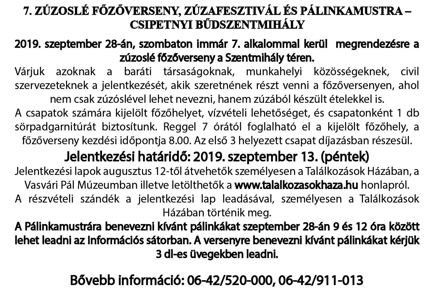 VII. Zúzoslé Főzőverseny, Zúzafesztivál és Pálinkamustra - Csipetnyi Bűdszentmihály  felhívás és jelentkezési lap