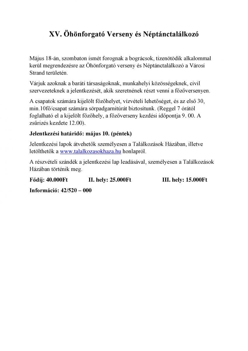 XV. Öhönforgató Verseny és Néptánctalálkozó tájékoztató és jelentkezési lap