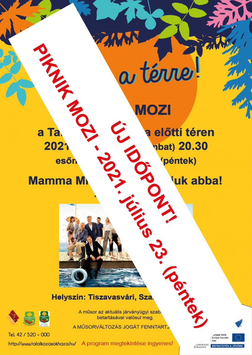 Gyere a térre - Piknik Mozi - ÚJ IDŐPONT!