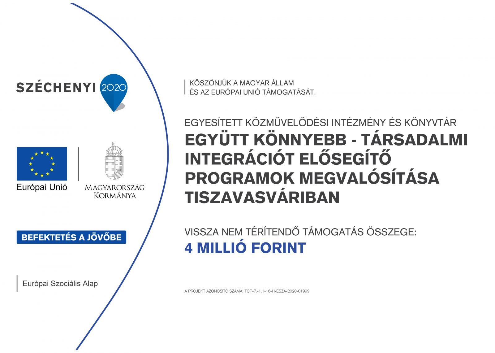 Együtt könnyebb - Társadalmi integrációt elősegítő programok megvalósítása Tiszavasváriban!